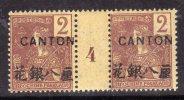 Canton N° 34 XX  Surcharge Noire :  2 C. Lilas-brun Sur Paille En Paire Millésime 4 Sans Charn, Gomme Tropicale Sinon TB