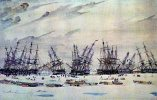AMERICAN WHALERS CAUGHT IN THE ICE, MELVILLE BAY, 1852, Forbes Collection, Hart Nautical Museum Unused - Sailing Vessels