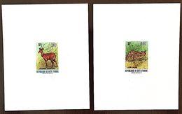 COTE D´IVOIRE: 701A/B Faune. 2 Valeurs Epreuves De Luxe (sheet Of Luxe) ( Serval + Cerf) - Timbres