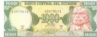 1000 Sucres, Date 08.06.1988, P-125b, UNC - Ecuador