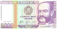 5000 Intis, Date 28.06.1988, P-137, UNC - Perù