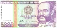 5000 Intis, Date 28.06.1988, P-137, UNC - Peru