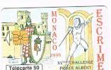 "MONACO - OFFICE TELEPHONE (CHIP) - 1996 ESCRIME: 15^ CHALLENGE PRICE ALBERT ""SABRE""      - USED -  RIF. 3899 - Monaco"