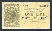 441- Italie Billet De 2 Lire 1944-237 - [ 1] …-1946 : Kingdom