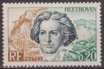 Francia 1963 Scott 1059 Sello ** Personajes Ludwing Van Beethoven, Lugar De Nacimiento Y El Rin En Bonn 0,20F France - Nuevos