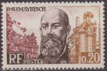 Francia 1963 Scott 1062 Sello ** Personajes Emile Mayrisch, Castillo Colpach & Blast Funace, Esch. 0,20c France Stamps - France