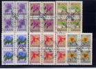 CANADA 1979, # 781 To 786, BLOCK OF 4 STAMPS, DEFINITIVES: FLOWERS   FIRST DAY CANCEL IN WINNIPEG - Blocs-feuillets