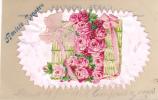 18883 Carte Sur Rhodoide,  Rose Noeud, Herbe. Amitié Sincere . F.J.R. Paris