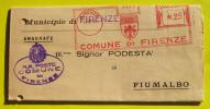 Modulo Inviato Dal Comune Di Firenze Al Podestà Di Fiumalbo 12/10/1937 - Marcofilie - EMA (Print Machine)