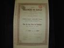 """Titre De 5 Parts De Fondateur """"Les Agglomérés Du Hainaut """" Bruxelles 1912 Bon état Reste Tous Les Coupons - Industrie"""