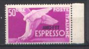 Trieste A 1952 Democratica 50 £ Sopr 1 Riga (Sass Ex 7) **/MNH - 7. Trieste