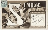 Large Letter ´Simone´ French Woman´s Name, C1900s Vintage Postcard - Firstnames