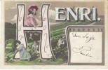 Large Letter ´Henri´ French Man´s Name, C1900s Vintage Postcard - Firstnames