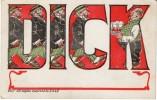 Large Letter 'Dick' Man's Name, Man Drinks Beer, C1900s Vintage Postcard - Firstnames