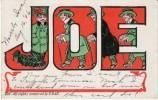 Large Letter 'Joe' Man's Name, C1900s Vintage Postcard - Firstnames