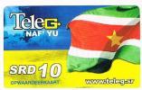 SURINAME (SURINAM) - TELE G  (GSM RECHARGE) - SURINAME FLAG $ 10      - USED  -  RIF. 2048 - Suriname