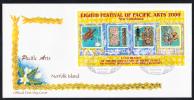 Norfolk Island Scott #708 FDC Souvenir Sheet Of 4 Pacific Arts Festival - Ile Norfolk