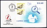 Norfolk Island Scott #710 FDC Souvenir Sheet Of 2 $1.20 Providence Petrel - CANPEX 2000 - Ile Norfolk