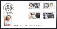 Norfolk Island Scott #688-691 FDC Set Of 4 The Queen Mother's Century - Ile Norfolk