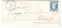 Lettre D' ANCERVILLE, Meuse, + Cachet PERLE Du 29 NOV 1865, GC 89 S / Empire N° 22, Ambulant Strasbourg-Paris > Reims - 1849-1876: Klassik