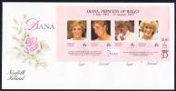 Norfolk Island Scott #645 FDC Souvenir Sheet Of 4 45c Princess Diana - Ile Norfolk