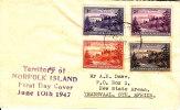 Norfolk Island Balls Bay Cover 1947 (4 Stamps) - Norfolkinsel