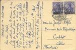 """Saargebiet: 2 Cards Franked With 2 X 20 Pf And 40 Pf, Overprint """"Saargebiet"""" To Cusset ( France) 1920. - Deutschland"""