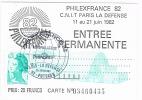 Entré Permanente PHILEXFRANCE 82 Paris- Timbrée Et Oblitération Aérophilatélie (avion) Du 20 Juin 1982 - Commemorative Postmarks