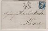 N° 14 BLEU NAPOLEON SUR LETTRE / PARIS D POUR TARARE / 19 MAI 1860 - Marcophilie (Lettres)