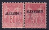 *PROMO* ALEXANDRIE: Les 2 Types Du 50c Sage Neuf * (Dallay #12 Et 17, Cote 231€)