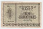 Norway 1 Krone 1948 VF+ CRISP Banknote P 15b  15 B - Norvegia