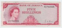 JAMAICA 5 Shillings 1960 (1964) P 51Ad  51A D - Jamaique