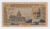 "France 500 Francs 2-9-1954 ""VG"" RARE Banknote P 133a  133 A - 500 F 1954-1958 ''Victor Hugo''"