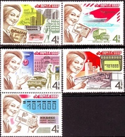 USSR Russia 1977 Mail Processing Philately Postal Post Transport Car Truck Ship Plane Helicopter MNH Michel 4671-4675 - Trucks