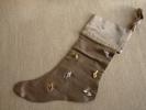 Christmas Boot; Botte De Noël, Gris Argent Or. Confection Pièce Unique, Ruban, Fleurs 4 Photos. - Other