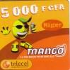 NIGER PREPAYEE PREPAID CARD MANGO TELECEL 5000 CFA