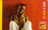 NIGER PREPAYEE PREPAID CARD CELTEL 10000 CFA  FILLE AFRICAINE AFRICAN GIRL RAGAZZA COLLIER NECKLACE