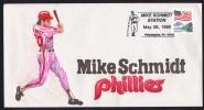 1990  Mike Schmidt, Phillies Baseball Player Souvenir Sheet  Hand Painted - Event Covers