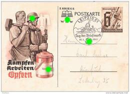 Ganzsache Sonder-Postkarte 2. Kriegs WHW Winterhilfswerk SST LEIPZIG C1 12.1.1941 Soldat Bajonett Schmied - Allemagne