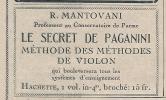 """Pub De 1923 """" R.MONTOVANI Le Secret De Paganini """" Méthode Des Methodes De Violon. - Publicités"""