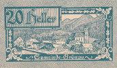 Notgeld 25 Heller  : GRÜNAU - Autriche