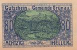 Notgeld 80 Heller  : GRÜNAU - Autriche