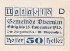 Notgeld 50 Heller  : OBERALM - Autriche