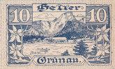 Notgeld 10 Heller  : GRÜNAU - Autriche