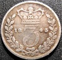 3 Pence 1843, Victoria, Argent, TTB - 1816-1901 : Frappes XIX° S.