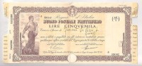 BUONO POSTALE FRUTTIFERO LIRE 5000 SERIE -  D - EMESSO A PALERMO IL 31 - 3 - 1941 - Non Classificati