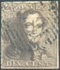 N°1 - Epaulette 10 Centimes Brune, TB Margée, Obl. Finement Apposée;  TB  - 7487 - 1849 Epaulettes
