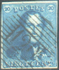 N°2 - Epaulette 20 Centimes Bleu Foncé, TB Margée, Obl.. P.120 TOURNAY.   TB  - 7491 - 1849 Epaulettes