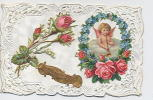 Carte Ajourée Avec Collage : Roses , Angelot - Anges