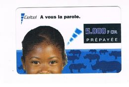 CONGO  (FRENCH CONGO)  - CELTEL (GSM RECHARGE) - : YOUNG BOY  & RHINOCEROSES  - USED - RIF. 507 - Congo